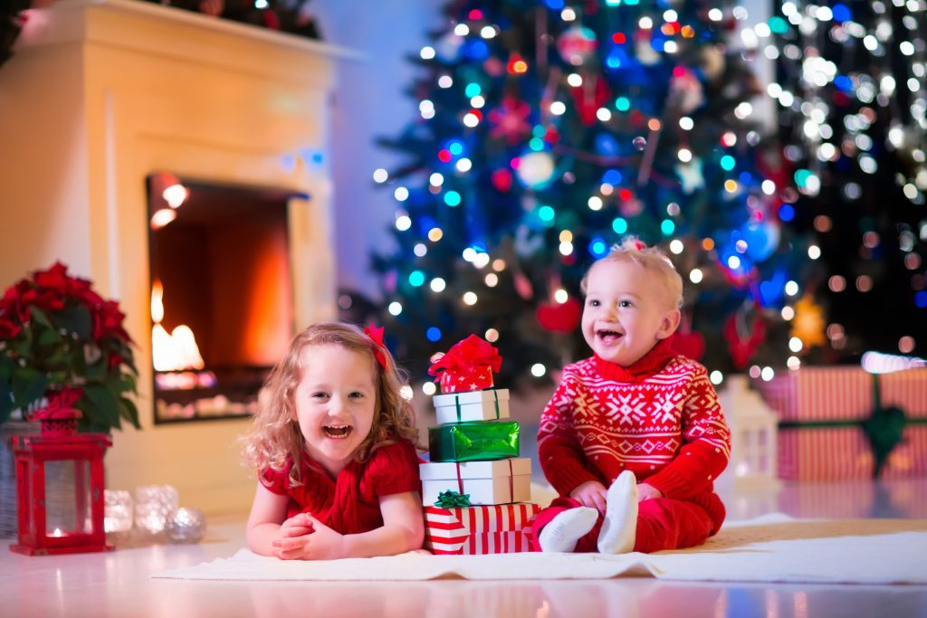 Happy children at Christmas time